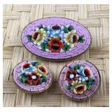 Italian Micro Mosaic Pin/Clip Earrings--Pinkish