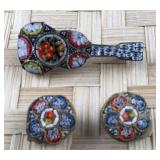 Micro Mosaic Guitar Pin and Round Clip Earrings