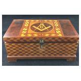 Beautiful Vintage Inlaid Masonic Dresser Box