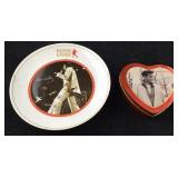 Elvis Plate and Heart Shaped Candy Tin