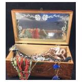 Vintage Carved Jewelry Box Full of Costume Jewelry