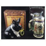 Boxed Piggy Bank and Boxed Avon Football Stein