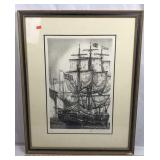 Framed Lithograph of Tall Ship at Port