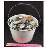 Enamelware Bucket Filled with Wood Waterfowl