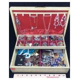 Jewelry Box with Assortment of Costume Jewelry