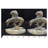 Pair of Metal Bronking Horse Bookends