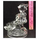 """Glass Hummel """"Little Girl & 2 Geese"""" Figurine"""