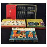 Vintage Abacus, Fuzzy-Felt Circus, Train Puzzle