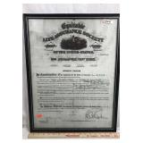 Equitable Life Assurance Society Framed Document