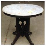 Antique Victorian Eastlake marble-top parlor table