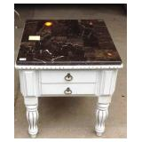Painted marble top two drawer side table
