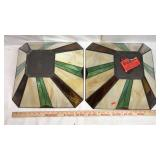 Pair of Plastic Stained Glass Style Lampshades