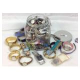 Huge canister lot of watches and jewelry