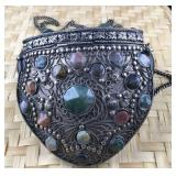 Metal Silver Tone Purse With Natural Stones