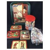 Coke Tray, Puzzle in Tin and Playing Cards