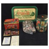 Coke Metal Collector Cards, Tray and Puzzle/Tin