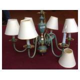 Brass 6 lite chandelier