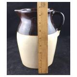 Large Old Brown and Cream Pitcher