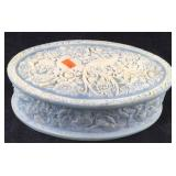 Vintage Light Blue Oval Incolay Stone Box