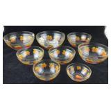 Eight Vintage Glass Bowls With Apples Decoration