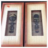 Pair of Framed Primitive Native God-Type Figures