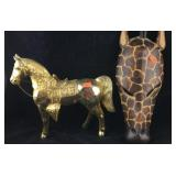 Large Vintage Gold Metal Horse and Giraffe Mask