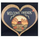Painted Heart Shaped Wooden Welcome Sign