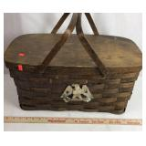 Old Wood Picnic Basket with Eagle Motif