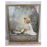 Framed Lithograph depicting Little Girl and Bird