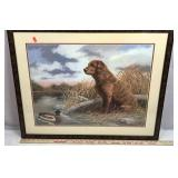 Framed Lithograph of Dog and Duck