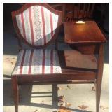 Vintage mahogany shield back gossip bench
