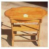 Antique pine scalloped top Brewster table