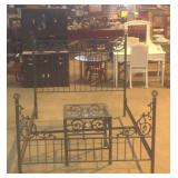 Cast-iron & wrought iron full size bed and table