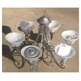 Contemporary satin glass globe metal chandelier