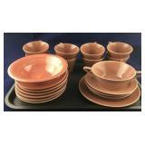 Lot of Pink  Toned Fiesta-Type Dinnerware