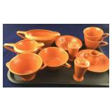 Tray of 11 Pieces of Orange Fiesta-Type Dinnerware