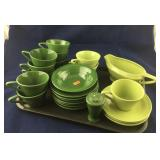 Lot of Two Colors Of Green Dinnerware