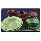 Green and Burgundy Colored Dinnerware