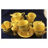 25 Pieces of Fiesta-type Yellow Dinnerware