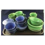 23 Pieces of Green and Periwinkle Dinnerware