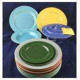 16 Colored Plates and Serving Pieces