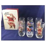 6 Santa and Coke Glasses in Original Box