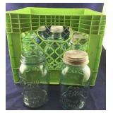 Whole Crate of Green Quart Canning Jars and Zinc