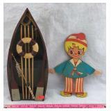 Hanging Rowboat Decoration & Vintage Wood Figure