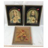 Pair of Framed Religious Prints and Floral Print