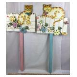 Pair of Wood Cat Garden Stakes