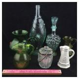 Fish Bottle, Green Pitchers, Decanter, & More
