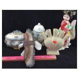 Porcelain Jars, Japanese Woman Figure, Eagle