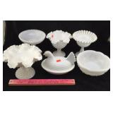 Milk Glass Candy Dishes, Bowl, Chicken Dish