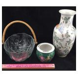 Chinese Vase, Small Flower Pot, Deep Glass Bowl